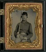 Photo Civil War Confederate Solder In Uniform With Star Buckle And Sword