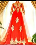 Red Vietnamese Traditional Wedding Dress With Red Embroidery And Long Train