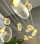 Chandelier Ceiling Crystal Fixtures Staircase Led Lamp Lighting Modern Decor New