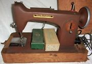 Rare Vintage Free Westinghouse Sewing Machine Rust Brown W/case And 2 Boxes Of And