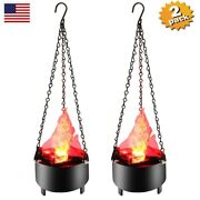2 Pack Led Fake Flame Lamp Torch Light Fire Pot 3d Campfire Party Prop Decor