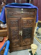 Fine Antique Chinese Hebei Rose Wood Compound Cabinet Figural And Floral