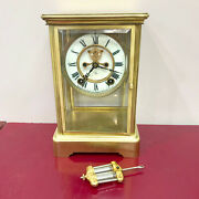 F253 Antique 1900and039s Ansonia Made In Usa Mantel Standing Clock Crystal Regulator