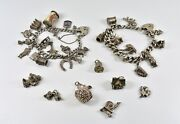 2 X Vintage Silver Charm Bracelets And Extra Charms