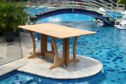 7-piece Outdoor Teak Dining Set 69 Console Table 6 Stacking Arm Chairs Grand
