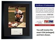 Yogi Berra Signed New York Yankees Index Card Matted With Photo Framed - Psa/dna