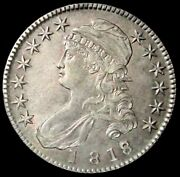 1818/7 Overdate Silver United States Capped Bust Half Dollar Au Condition