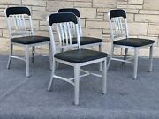 4 Mid Century Industrial General Fireproof Goodform Aluminum Navy Guest Chairs