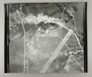 Two Original Vtg Air Forces Photographs Aerial Bombing Of German Airfield Ww2