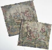 Pair Antique Silk Embroidery Tapestry Panels Ready For Making Pillows - 18-19c