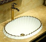 Ceramic Semi-counter Bathroom Sink With Overflow Lace White Porcelain Oval Basin