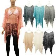 Womenand039s Fishnet Cover Up Poncho Top Sequence Lace Beach Swimwear Summer Fringe