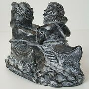 Small Wolf Original Sculpture Figurine Loving Couple In Kayak Inuit Man And Woman