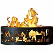 Pandampd Metal Works Outdoor Campfire Fire Ring W Whitetail Deer Design 48 In.