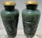 Chinese Pair Of Celadon Jade Snuff Bottles With Gilded Stoppers