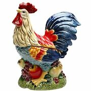 - Ss-cg-31979 12 Tall Painted Standing Rooster On Fruit Kitchen Cookie Jar