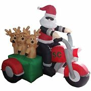 Bzb Goods 5 Foot Tall Christmas Inflatable Santa Claus Three Reindeer On Outdoor