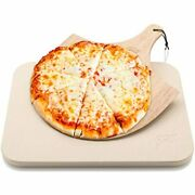 Hans Grill Pizza Stone Baking For Pizzas Use Oven Grill/bbq Free Wooden Peel 15