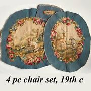 Antique French 19th C. Beauvais Or Aubusson Tapestry Panels Chair Pillow Hunt