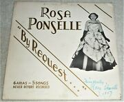 Used Vinyl Lp By Rosa Ponselle By Request Signed And Dated Rpx-101/102 Opera