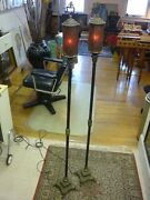Antique Floor Lamps Gothic Renaissance/mica Shades Lion Heads And Claw Feetrare