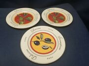Vintage 2003 The Monkey And The Peddler Set/3 Appetizer Plates By Liz Ross