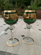 2 Antique Moser Green Wine Glass Hocks W/ Heavy Gold Cameo Frieze Grape Leaves