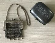 Antique Victorian 1898-1893 Wallet Card Case Purse And G Silver Mesh Purse Jeb