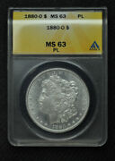 1880 O - Morgan Silver Dollar - Anacs Ms63 Pl