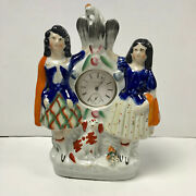 F277 Antique Staffordshire Ceramic Pocket Watch Holder Stand Case Collectible