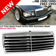 For 84-93 Mb 190eand190d | 13 Trim Style Front Bumper Radiator Grille Chrome Steel