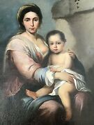 Early 19th Century Old Master Manner Realist Oil Nursing Mother And Baby European