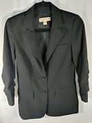 Black Blazer 3/4 Length Ruched Sleeves Size 0