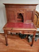 Antique Writing Desk With Hutch And Leather Pad Clerk