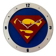 Superman 14 Wall Clock Fan Inspired Perfect Nerdy Gift Wooden Handmade In Usa