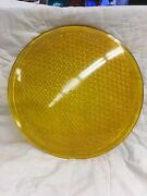 Vintage 12 Glass Yellow Traffic Lens Signal Cover Made In Poland