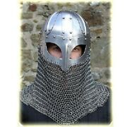 Historial Medieval Viking Helmet Battle Armor+18g Steel And Chainmail W