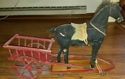 Antique Horse And Wagon Pull Toy