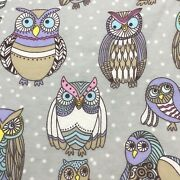 Colorful Owl Friends Gray White Polka Dots Cotton Flannel Fabric 2+ Yards 81x42