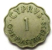 1938 King George Vi Cyprus One Piastre Coin