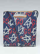 Blue Multicolor Guccighost Calfskin Print Leather Two-way Medium Xl Tote B