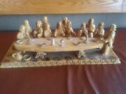 Large Vintage Hand Carved Olive Wood Last Supper In 3d With Removable Table