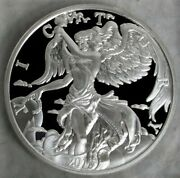 2015 Silver 10 Oz 87mm Victory Goddess Nike Ancients Customized Holder In Box