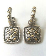John Hardy Naga Earrings 18k Gold Sterling Silver Hoops Hanging Charms Scales