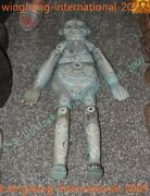37china Dynasty Old Inlay Natural Turquoise Monarch Funeral Girl Tong Nv Statue