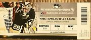 Penguins 2014 Nhl Ticket Stub - Sidney Crosby Hits 100 Points For 5th Time