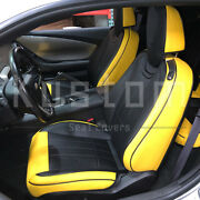 For 10-15 Camaro Coupe   Custom Fit Black Yellow Artificial Leather Seat Covers