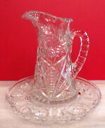 Vintage Hand Cut Glass Pitcher And Footed Underplate Pinwheel Star Design German