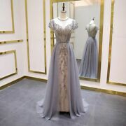 Short Sleeve Evening Dress A-line Bead Long Prom Dresses O-neck Crystal Gown New