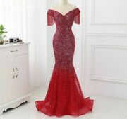 Evening Dress Long Gowns Party With Train Luxury Beaded Mermaid Off The Shoulder